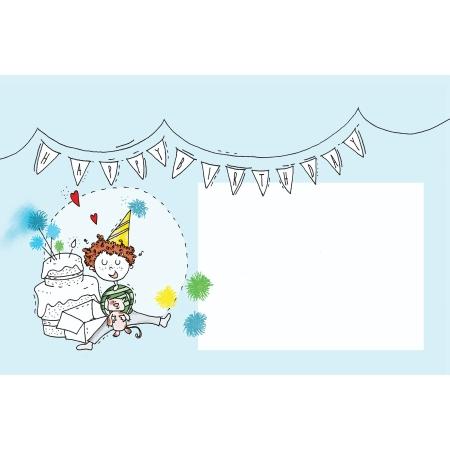 Γαλάζια Ευχετήρια Κάρτα Happy Birthday BabyMou