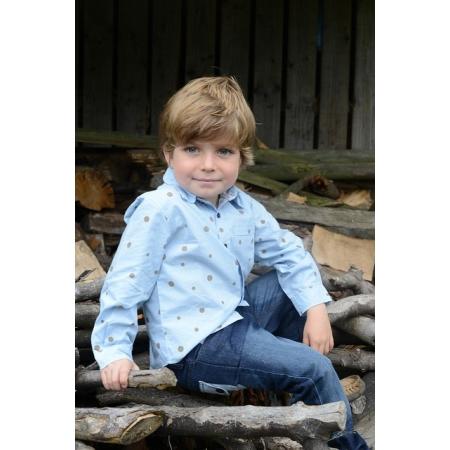 Παιδικό πουκάμισο με ασύμετρο πουά Bamboo baBy