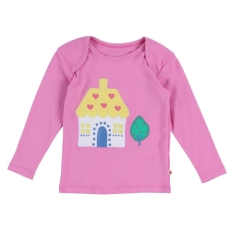 Μακρυμάνικα Ροζ Μπλούζα Με Σπιτάκι Piccalilly Piccalilly