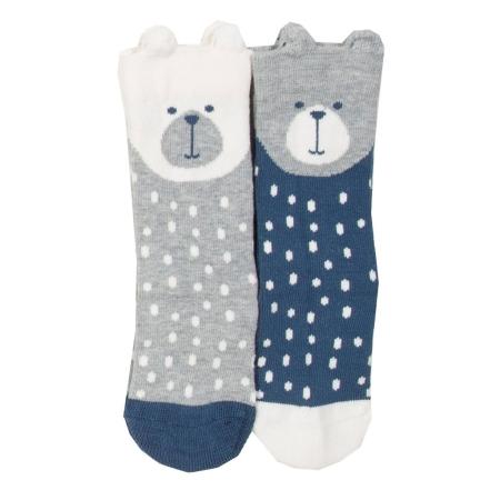 Πουά Καλτσάκια Με Αρκουδάκια (2 ζευγάρια Μπλε-Γκρι) Kite