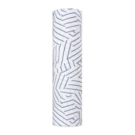 Βρεφική Μουσελίνα Από Μπαμπού Με Μπλε Διαγώνιες Γραμμές aden + anais®