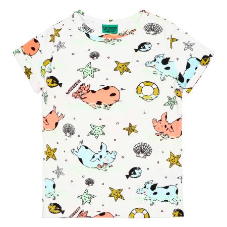 Κοντομάνικη Μπλούζα Με Γουρουνάκια Στην Πλαζ Raspberry Republic