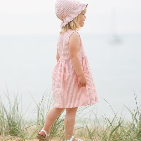 Ροζ Ριγέ Φόρεμα Με Τσέπες Καρδιές Kite