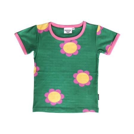 Πράσινη Κοντομάνικη Μπλούζα Με Λουλούδια Moromini