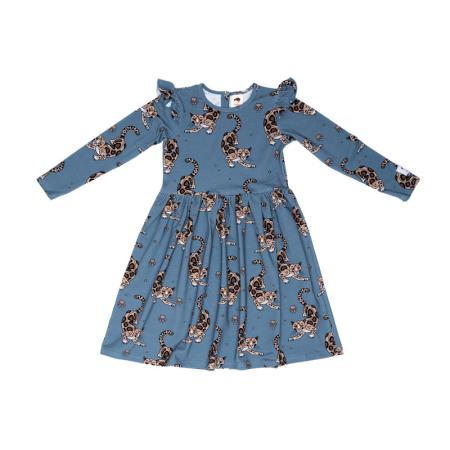 Φορέματα Μπλε Φόρεμα Με Λεοπαρδάλεις Και Φραμπαλά Mullido Mullido