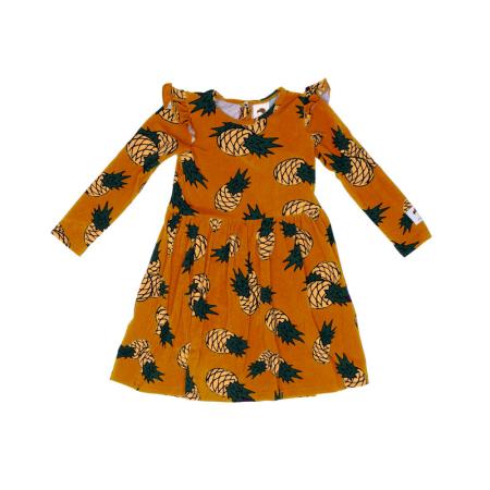 Φορέματα Μουσταρδί Φόρεμα Με Ανανάδες Και Φραμπαλά Mullido Mullido