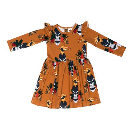 Φορέματα Μουσταρδί Φόρεμα Με Εξωτικά Πουλιά Και Φραμπαλά Mullido Mullido