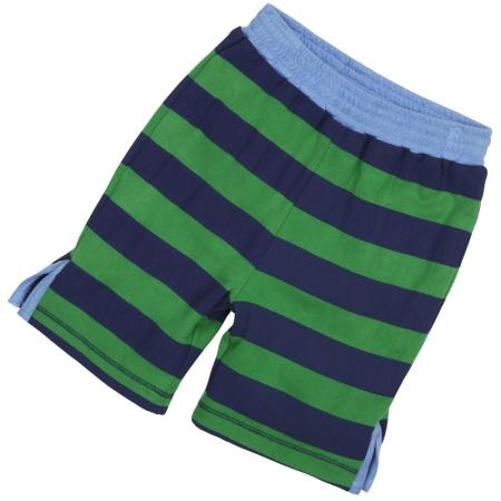 Βερμούδες, Σορτσάκια Ριγέ Πράσινη Και Μπλε Βερμούδα Διπλής Οψεως Piccalilly Piccalilly