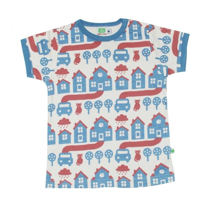 Κοντομάνικα Μπλούζα Με Σπιτάκια Και Γατούλες Sture & Lisa Sture & Lisa