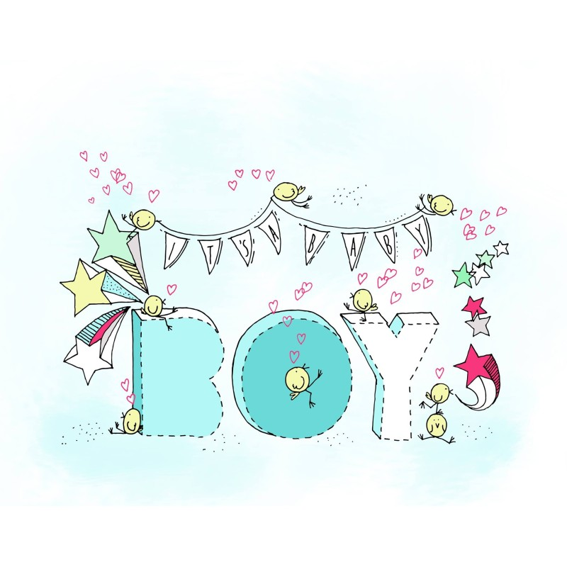 Αρχική Μπλε Ευχετήρια Κάρτα It's A Baby Boy BabyMou