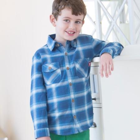 Μπλε Καρό Παιδικό Πουκάμισο Kite