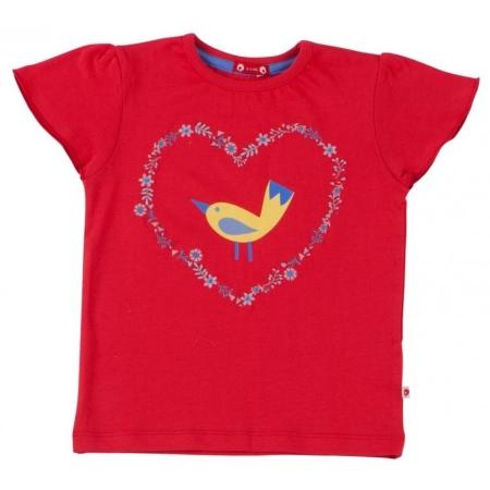 Κοντομάνικα Κόκκινη Μπλούζα Με Πουλάκι Piccalilly Piccalilly
