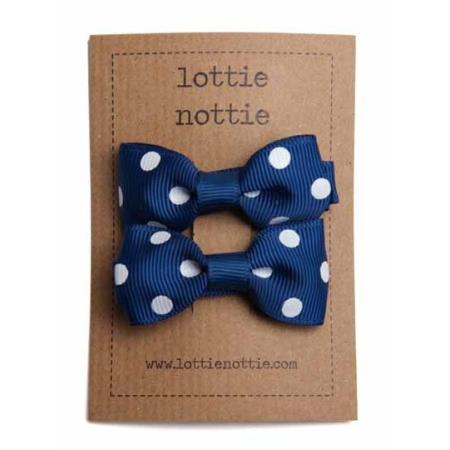 Σκούρο Μπλε Πουά Φιογκάκια Lottie Nottie