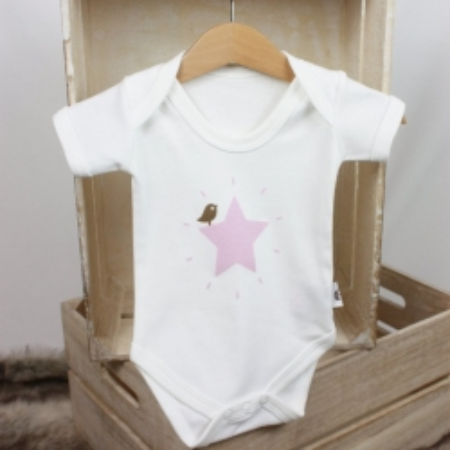 Βρεφικό κοντομάνικο φορμάκι Pink Star Molly & Monty