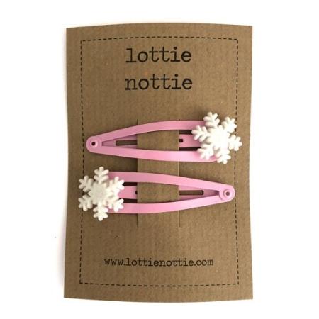 Ροζ Κλιψάκια Με Χιονονιφάδες Lottie Nottie