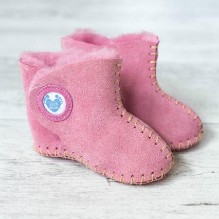 Ροζ Δερμάτινα Μποτάκια Με Γούνα Inch Blue