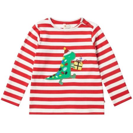 Μακρυμάνικα Ριγέ Μπλούζα Με Χριστουγεννιάτικο Δεινόσαυρο Piccalilly Piccalilly